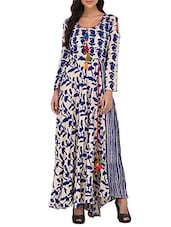Indigo cotton flared kurta -  online shopping for gowns