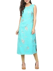 Turquoise Satin Straight Kurta - By