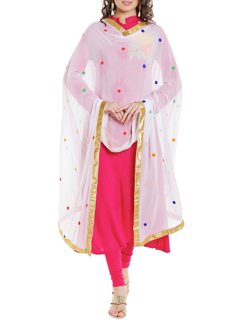 White Chiffon Embroidered Dupatta - By