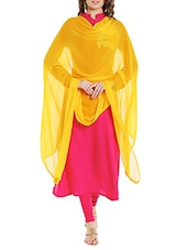 Yellow Poly Chiffon Plain Dupatta - By