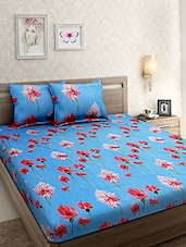 Cotton Floral Printed Blue Double Bed sheet with Two Pillow Covers -  online shopping for bed sheet sets