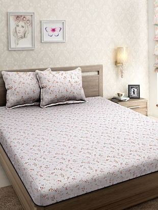Yarn Dyed 300 Thread Count Premium Percale Cotton Super King Floral Bed sheet with Two Pillow Covers -  online shopping for bed sheet sets