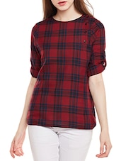 red checkered cotton regular top -  online shopping for Tops