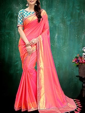 pink silk bordered saree -  online shopping for Sarees