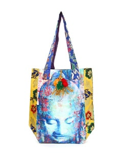 Yellow And Blue Printed Bag - The House Of Tara