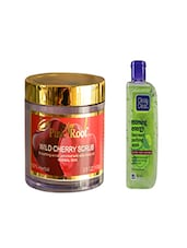 Pink Root Wild Cherry Scrub (100gm) With Clean & Clear Morning Energy Face Wash Purifying Apple (100ml) Pack Of 2 - By