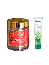 Pink Root Raspberry Scrub (100gm) With Himalaya Purifying Neem Face Wash (100ml) Pack Of 2 - By