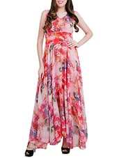 multicolored floral printed georgette maxi dress -  online shopping for Dresses