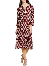 Maroon Rayon Straight Kurta - By