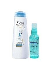 Dove Oxygen Moisture Shampoo With Pink Root Hair Serum Pack Of 2 - By