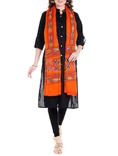 Orange Cotton Embroidered Dupatta - By