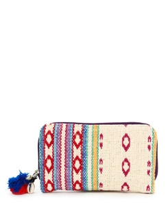 White And Red Hand Woven Cotton Wallet - The House Of Tara
