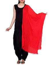 Red Chiffon Plain Dupatta - By