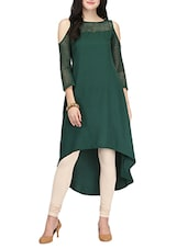 Green Poly Crepe Highlow Kurta - By