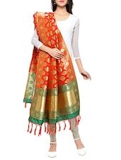 Orange Silk Banarasi Dupatta - By