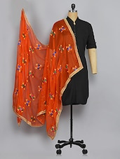 Orange Nylon Phulkari Dupatta - By