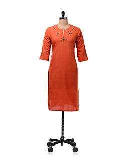 Orange Long Kurta - Daram