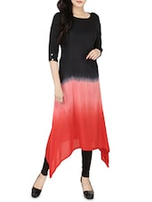 Black & Red Rayon Asymmetric Kurta - By