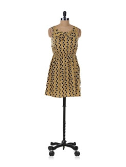 Mustard Heart-print Dress - Aamod