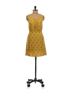 Mustard Yellow Dress With Zebra Prints - Aamod