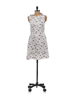 White Dress With Black Birds Print - Aamod