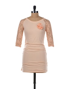Peach Tunic Top With Lace Work - Aamod