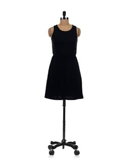 Black Net Sleeveless Dress - Aamod