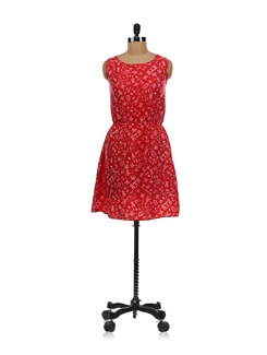 Red Printed Dress - Aamod