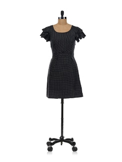 Black Polka Dot Dress - Aamod