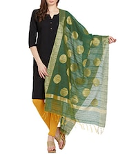 Green Chanderi Woven Dupatta - By