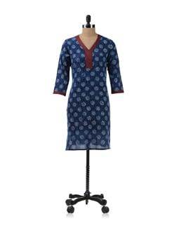 Blue-maroon Printed Kurta - Fami India