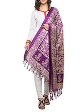 Purple Art Silk Batik Printed Dupatta - By