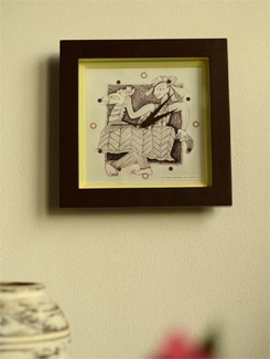 "Art Printed Wall Clock - ""Horse Player"" By Apu Mookerjee - Artfairie"
