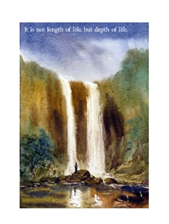Man Standing In Front Of A Waterfall  By Milanendu Mondal Poster - Artfairie