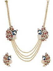 Multi Gold Plated Kundan Necklace - By