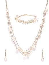 Gold Metal Long Necklaces And Earrings - By