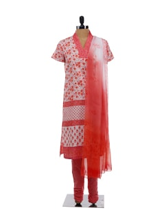 Orange Printed Kurta Churidars And Dupatta - KILOL