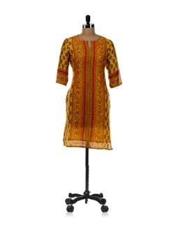 Yellow And Red Striped Kurta - Cotton Curio