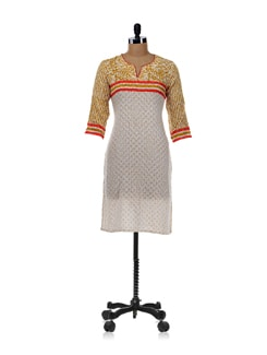 Off-white And Mustard Floral Kurta - Cotton Curio