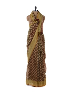 Brown And Gold Heavy Saree - Bunkar