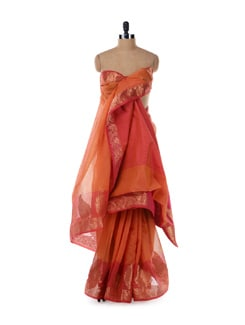 Elegant Orange And Red Saree - Bunkar