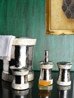 Hammered Silver MOP Bath Accessories - Set of 4 - Lohia's