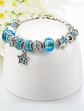 Blue Silver Plated Cuffs Bracelet - By