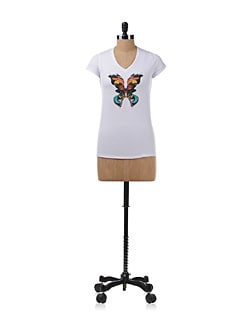 Butterfly Print White Top - Chemistry
