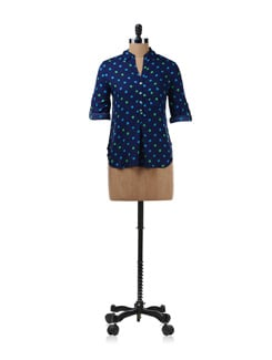 Navy Blue Shirt With Polka Dots - Chemistry