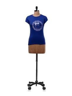 Blue 'Traditional Ganesha' Graphic T-shirt - OFFBEAT
