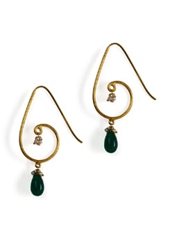 Gold plated silver danglers with Green Onex tear drop & fresh water pearls. - Posy Samriddh