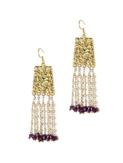 Gold Plated Silver Hand Crafted Dangler With Freash Water Pearls And Garnet. - Posy Samriddh