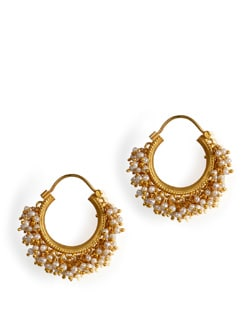 Gold Plated Silver Hoops With Fresh Water Pearls - Posy Samriddh