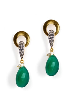 Gold plated silver earrings with green onyx - Posy Samriddh